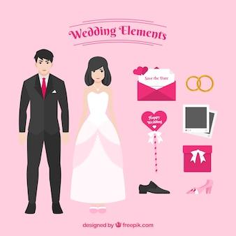 Elementos bonitos do casamento