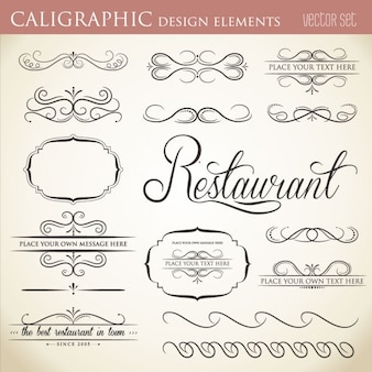Elementos caligráficos do projeto para embelezar o seu formato do vetor de layout