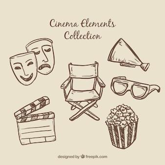 Elementos cinema essencial desenhados mão