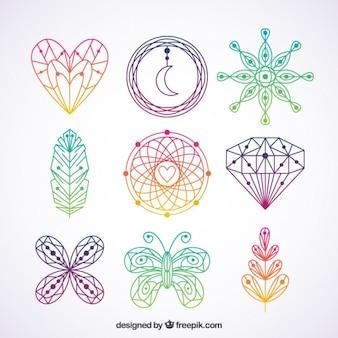 elementos coloridos boho desenhados mão