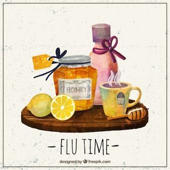 Elementos da aguarela para uma gripe