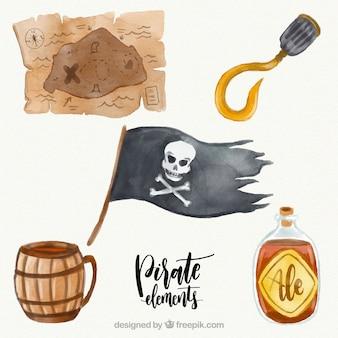 Elementos da bandeira e da aguarela de pirata