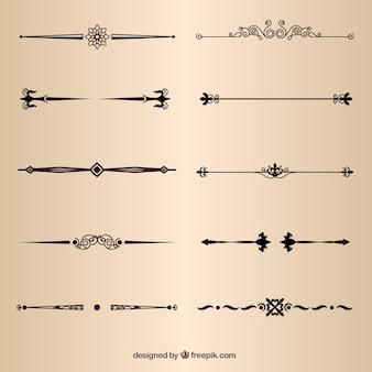 Elementos da página divisores decorativos vector