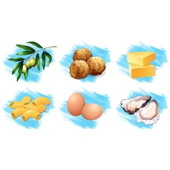 Elementos de alimentos desenhados mão