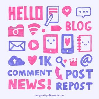 Elementos de blog que desenham com marcadores