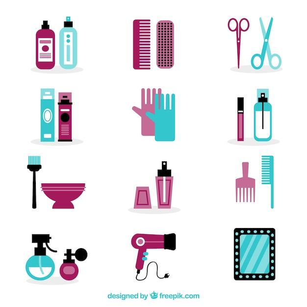 elementos-de-cabeleireiro-ajustados-no-p