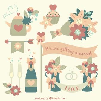 Elementos de casamento bonito em cores pastel