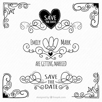 Elementos de casamento preto e branco