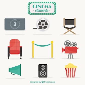 Elementos de cinema em design plano