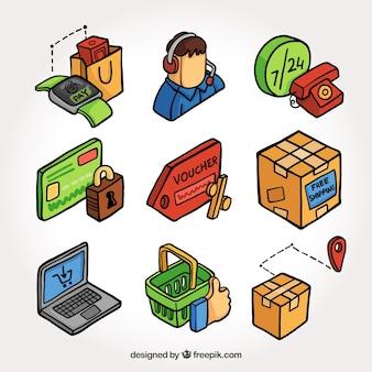 Elementos de compra isométricos desenhados à mão