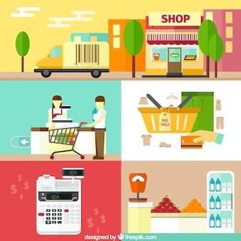 Elementos de compras em design plano