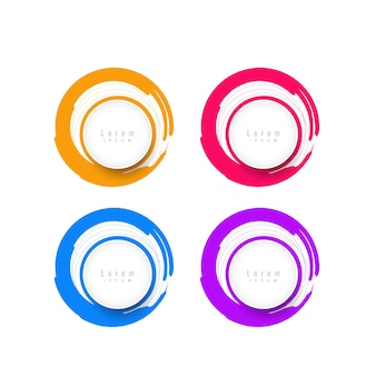 Elementos de design circulares coloridos com espaço de texto