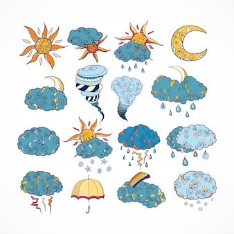 Elementos de design de previsão do tempo Doodle