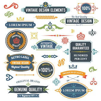 Elementos de design vintage elementos e ornamentos conjunto ilustração vetorial isolado
