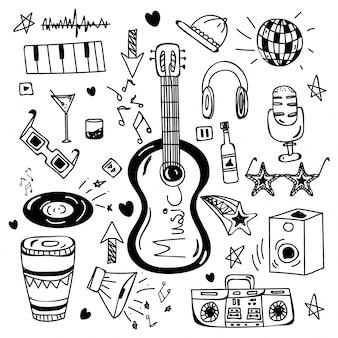 Elementos de doodle desenhados a mão em preto e branco para música.