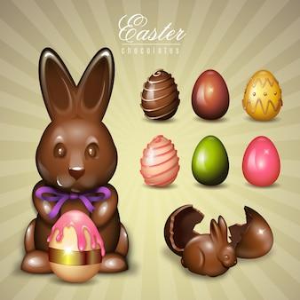 Elementos de easter do chocolate