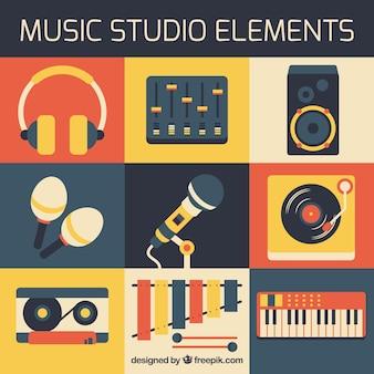 Elementos de estúdio de música em design plano