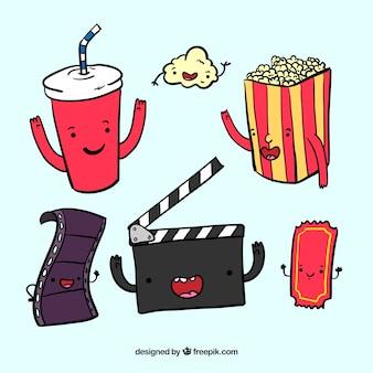 Elementos de filmes desenhados mão