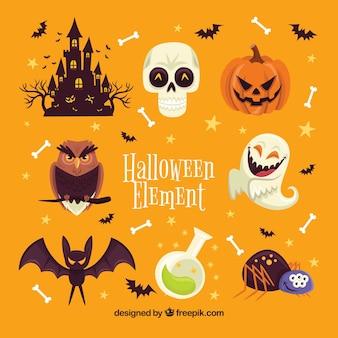 Elementos de Halloween com design plano