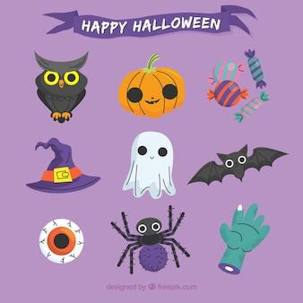 Elementos de Halloween com estilo bonito