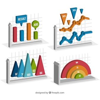 Elementos de informação em estilo isométrico