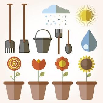Elementos de jardinagem em design plano