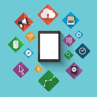 elementos de marketing digitais coloridas