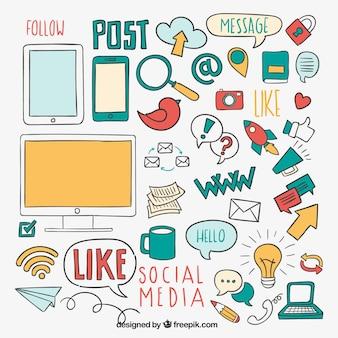 Elementos de mídia social esboçado