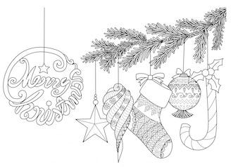 Elementos de Natal desenhados à mão