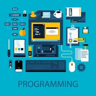 Elementos de programação coloridos