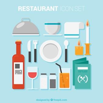 Elementos de restaurante em estilo plano