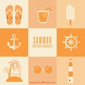 elementos de Verão do vintage no design plano