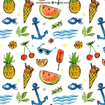 elementos de verão e padrão de frutas