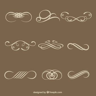 Elementos decorativos caligráficos simples