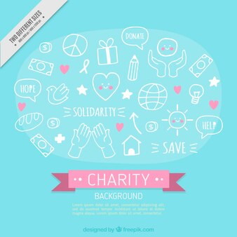 Elementos desenhados mão caridade fundo bonito