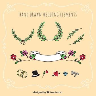 elementos desenhados mão do casamento