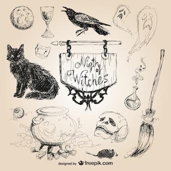 Elementos desenhados mão do dia das bruxas
