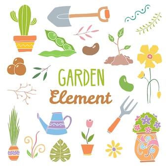 Elementos desenhados mão do jardim