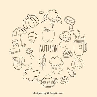 Elementos desenhados mão do outono