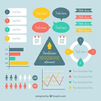elementos desenhados mão infográfico definir