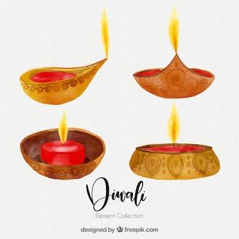 Elementos diwali de aquarela
