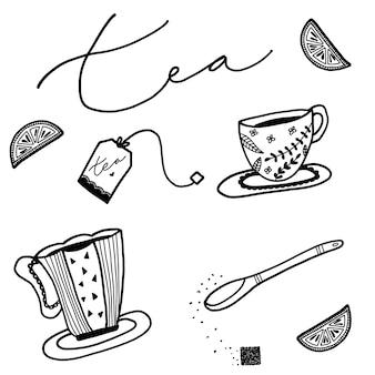 Elementos do chá desenhados mão
