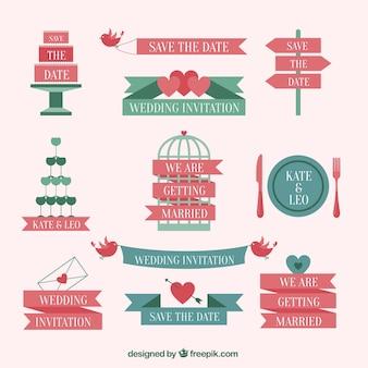 Elementos do convite do casamento bonito