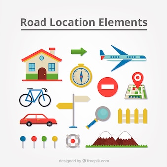 Elementos do curso ajustados na de design plano