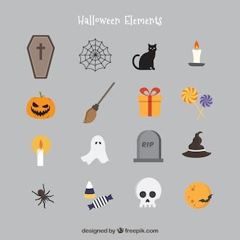 Elementos do halloween no estilo dos ícones