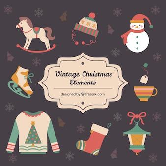 Elementos do Natal do vintage no design plano