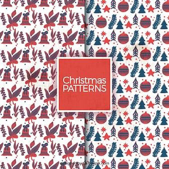 Elementos do Natal pintados à mão padrões do vintage