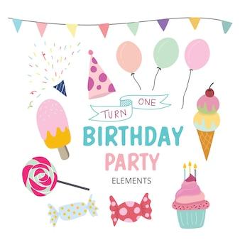 Elementos do partido de aniversário bonito