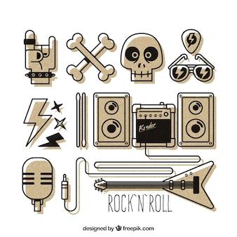 Elementos do rock and roll desenhados mão