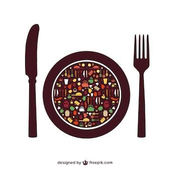 Elementos do vetor comida menu sem